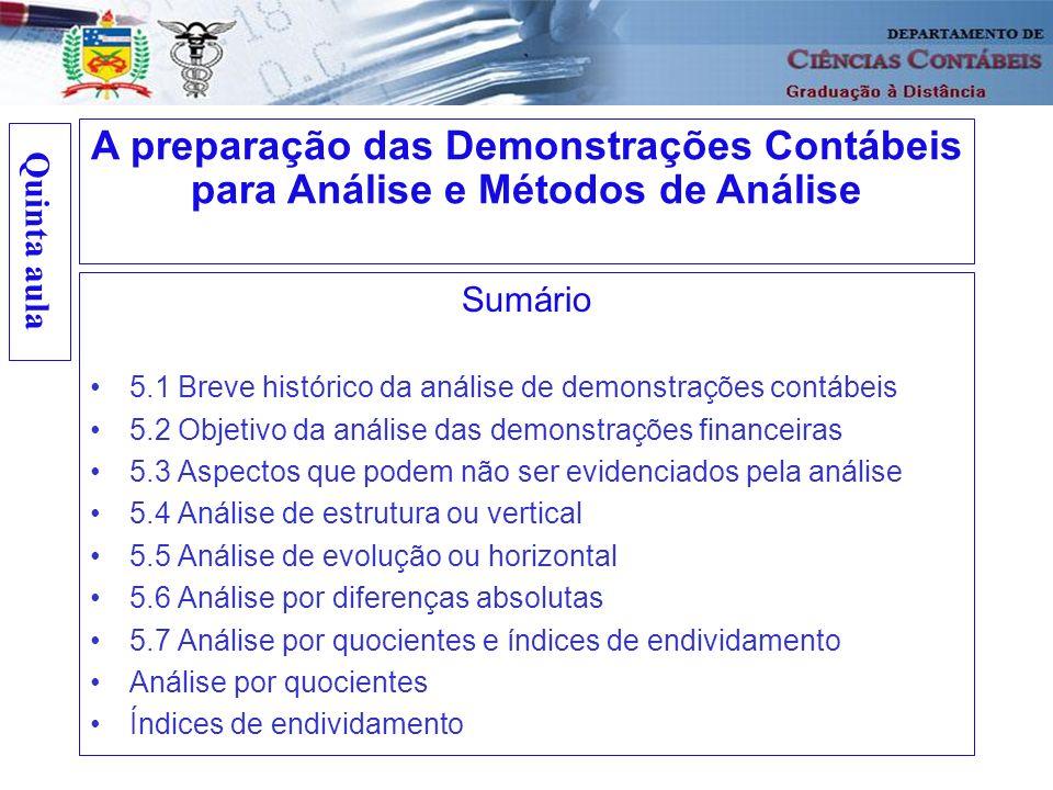 Quinta aula Sumário 5.1 Breve histórico da análise de demonstrações contábeis 5.2 Objetivo da análise das demonstrações financeiras 5.3 Aspectos que p