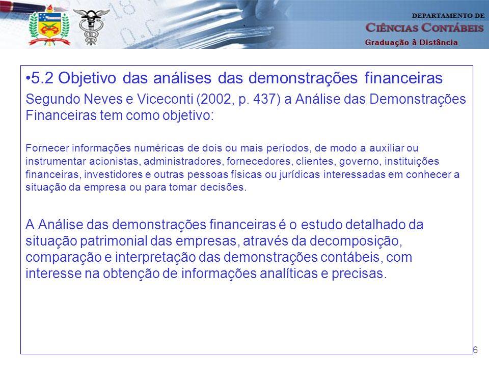 6 5.2 Objetivo das análises das demonstrações financeiras Segundo Neves e Viceconti (2002, p. 437) a Análise das Demonstrações Financeiras tem como ob