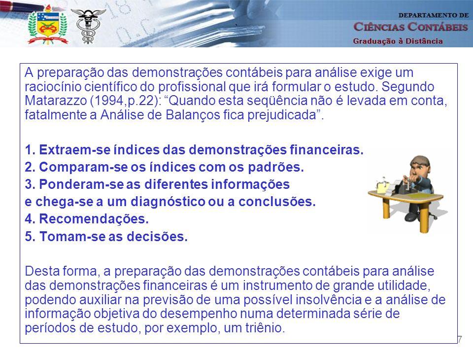 7 A preparação das demonstrações contábeis para análise exige um raciocínio científico do profissional que irá formular o estudo. Segundo Matarazzo (1