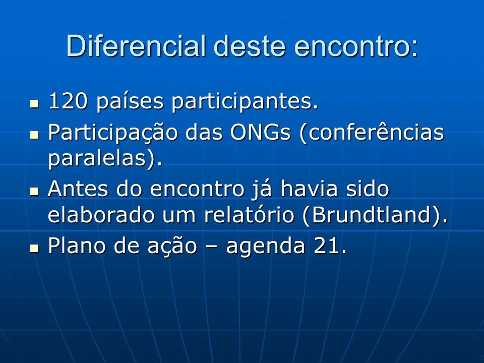 Diferencial deste encontro: 120 países participantes. 120 países participantes. Participação das ONGs (conferências paralelas). Participação das ONGs