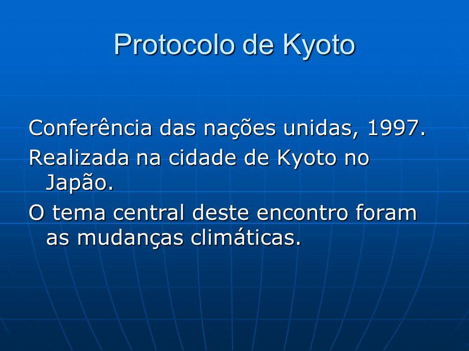 Protocolo de Kyoto Conferência das nações unidas, 1997. Realizada na cidade de Kyoto no Japão. O tema central deste encontro foram as mudanças climáti