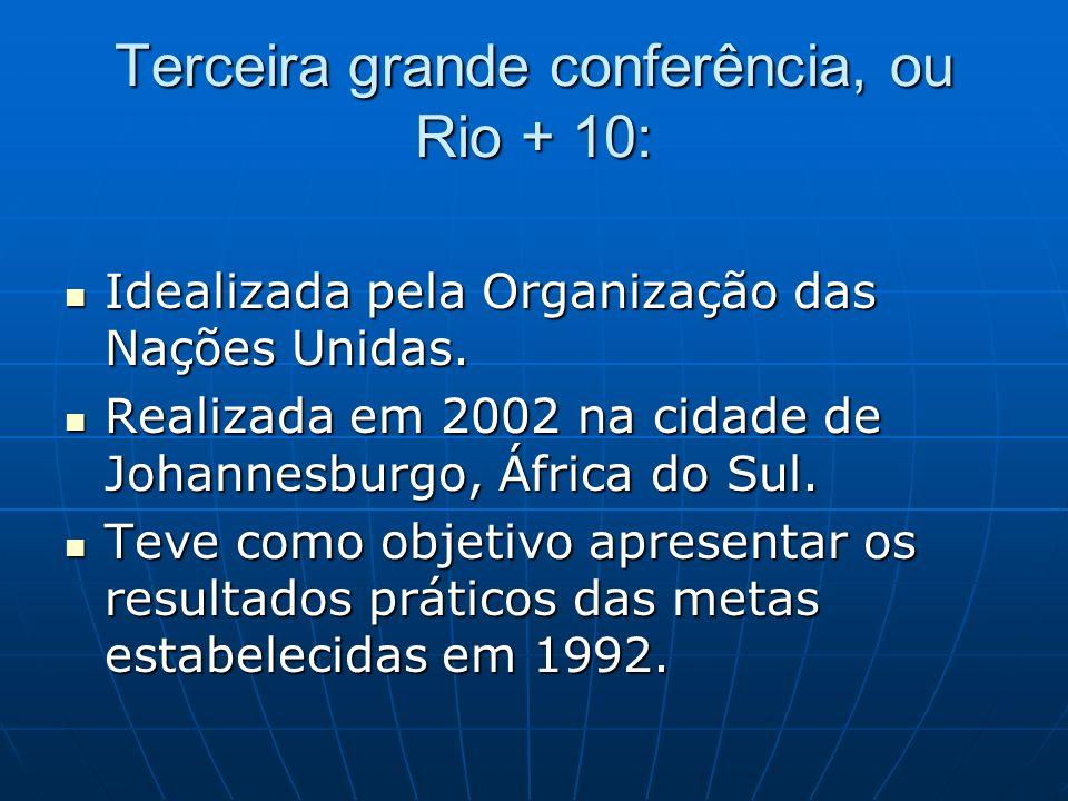 Terceira grande conferência, ou Rio + 10: Idealizada pela Organização das Nações Unidas. Idealizada pela Organização das Nações Unidas. Realizada em 2