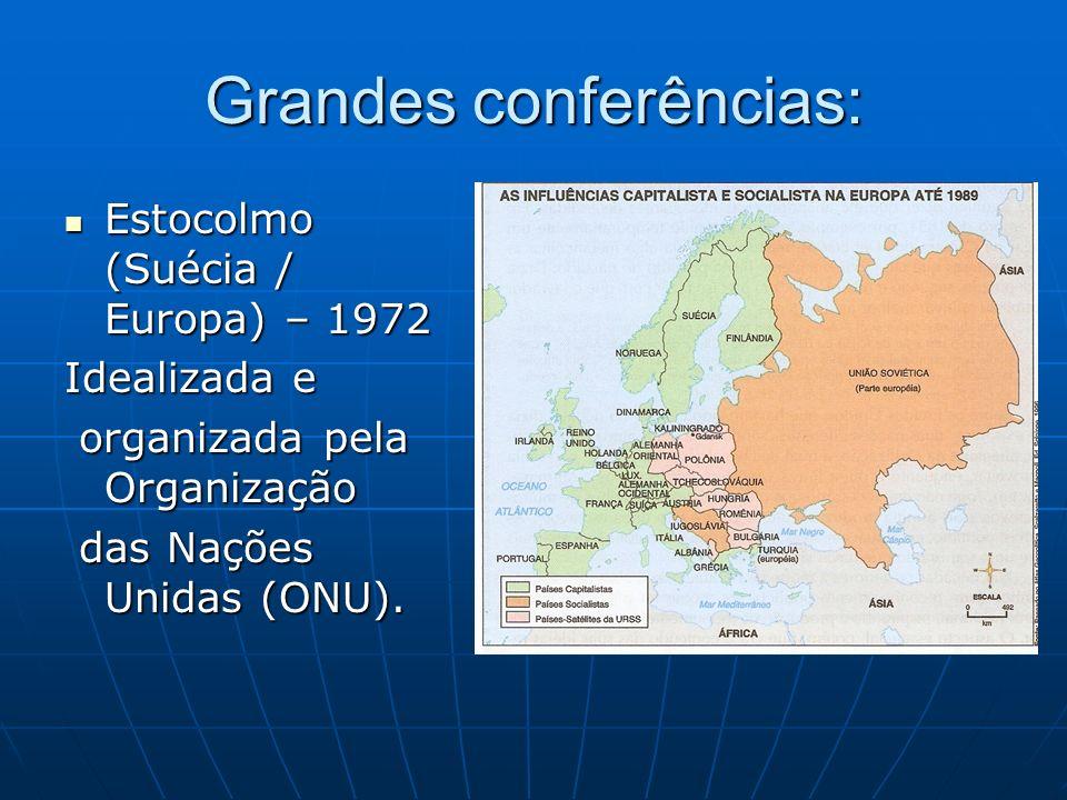 Grandes conferências: Estocolmo (Suécia / Europa) – 1972 Estocolmo (Suécia / Europa) – 1972 Idealizada e organizada pela Organização organizada pela O