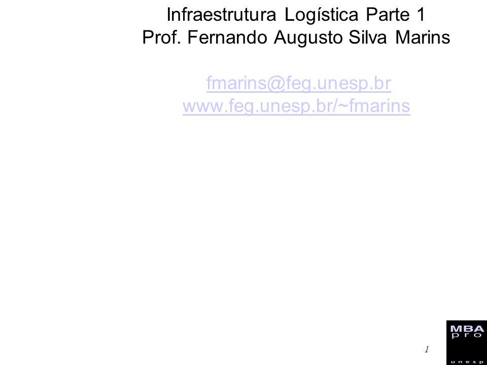 1 Infraestrutura Logística Parte 1 Prof. Fernando Augusto Silva Marins fmarins@feg.unesp.br www.feg.unesp.br/~fmarinsfmarins@feg.unesp.br www.feg.unes