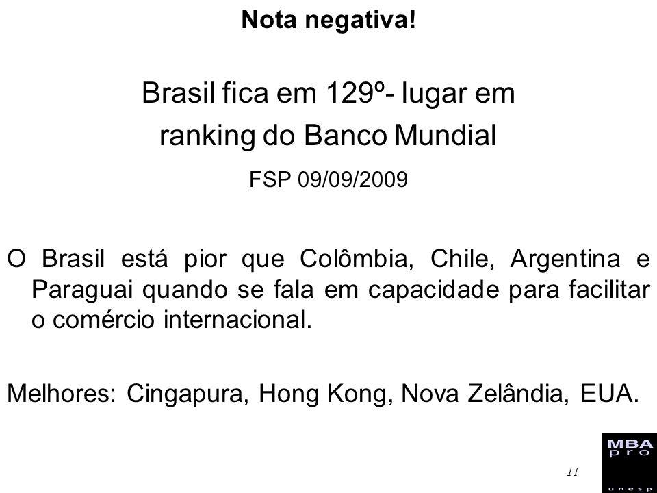 11 Nota negativa! Brasil fica em 129º- lugar em ranking do Banco Mundial FSP 09/09/2009 O Brasil está pior que Colômbia, Chile, Argentina e Paraguai q