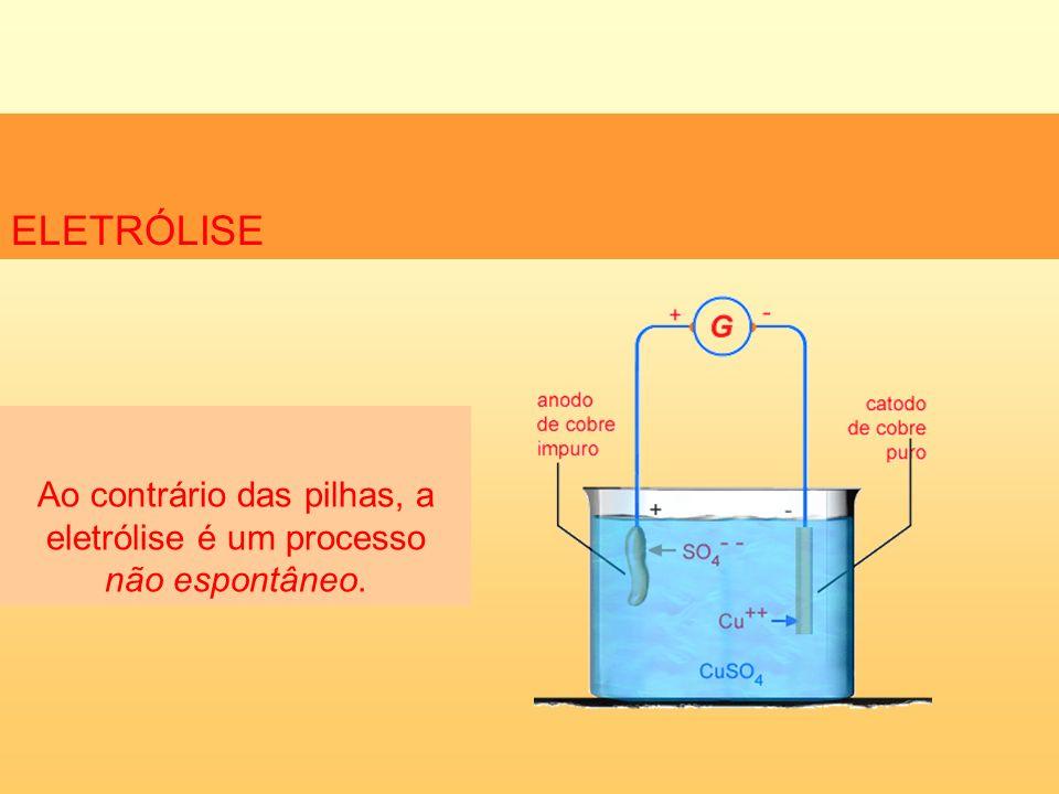 ELETRÓLISE Na eletrólise ocorre uma reação de oxi-redução não espontânea que consome corrente elétrica de uma bateria ligada ao sistema.