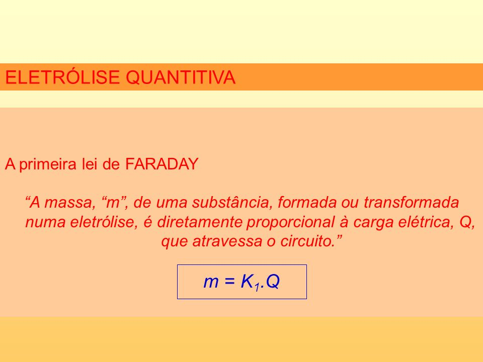 ELETRÓLISE QUANTITIVA A primeira lei de FARADAY A massa, m, de uma substância, formada ou transformada numa eletrólise, é diretamente proporcional à carga elétrica, Q, que atravessa o circuito.