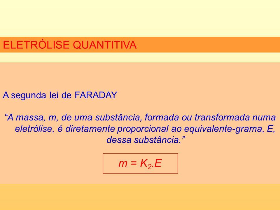 ELETRÓLISE QUANTITIVA A segunda lei de FARADAY A massa, m, de uma substância, formada ou transformada numa eletrólise, é diretamente proporcional ao equivalente-grama, E, dessa substância.