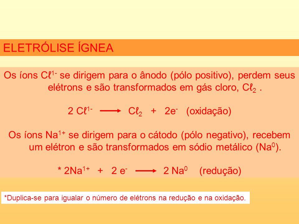De forma semelhante, observando-se a prioridade de descarga, na eletrólise do KI aquoso há formação de H 2 (no cátodo) e I 2 (no ânodo) e liberação de Na + OH - (aq).