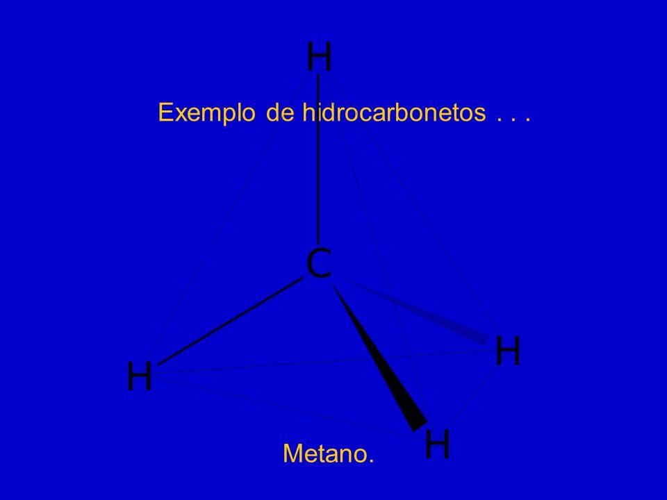 Exemplo de hidrocarbonetos... Metano.
