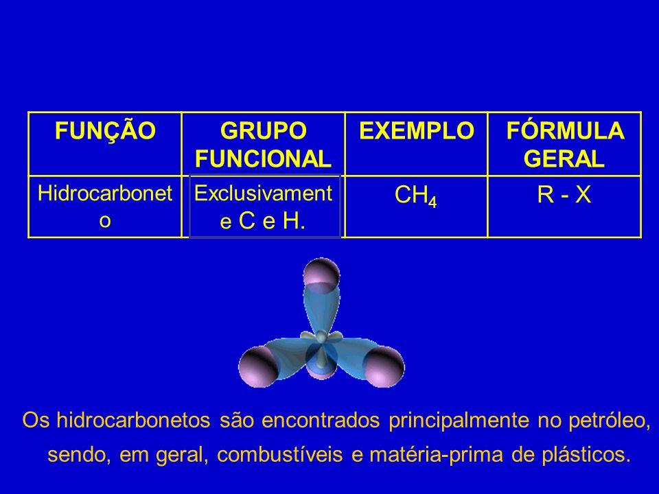FUNÇÃOGRUPO FUNCIONAL EXEMPLOFÓRMULA GERAL Hidrocarbonet o Exclusivament e C e H. CH 4 R - X Os hidrocarbonetos são encontrados principalmente no petr