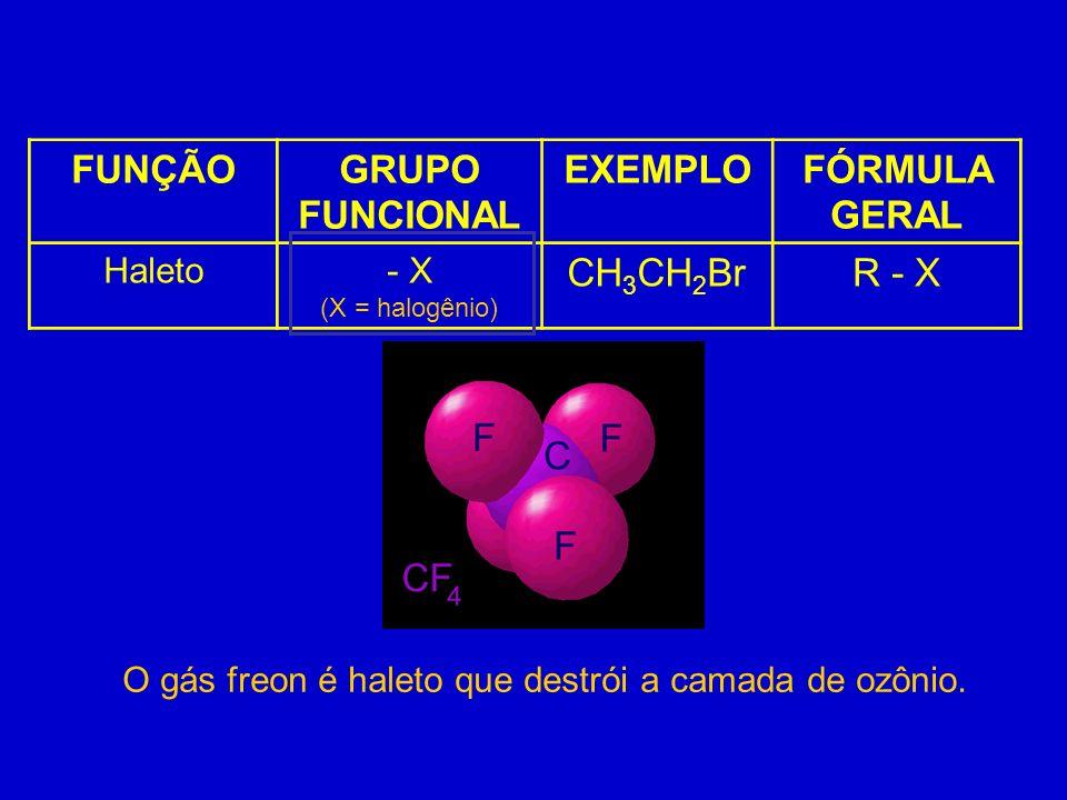 FUNÇÃOGRUPO FUNCIONAL EXEMPLOFÓRMULA GERAL Haleto- X (X = halogênio) CH 3 CH 2 BrR - X O gás freon é haleto que destrói a camada de ozônio.