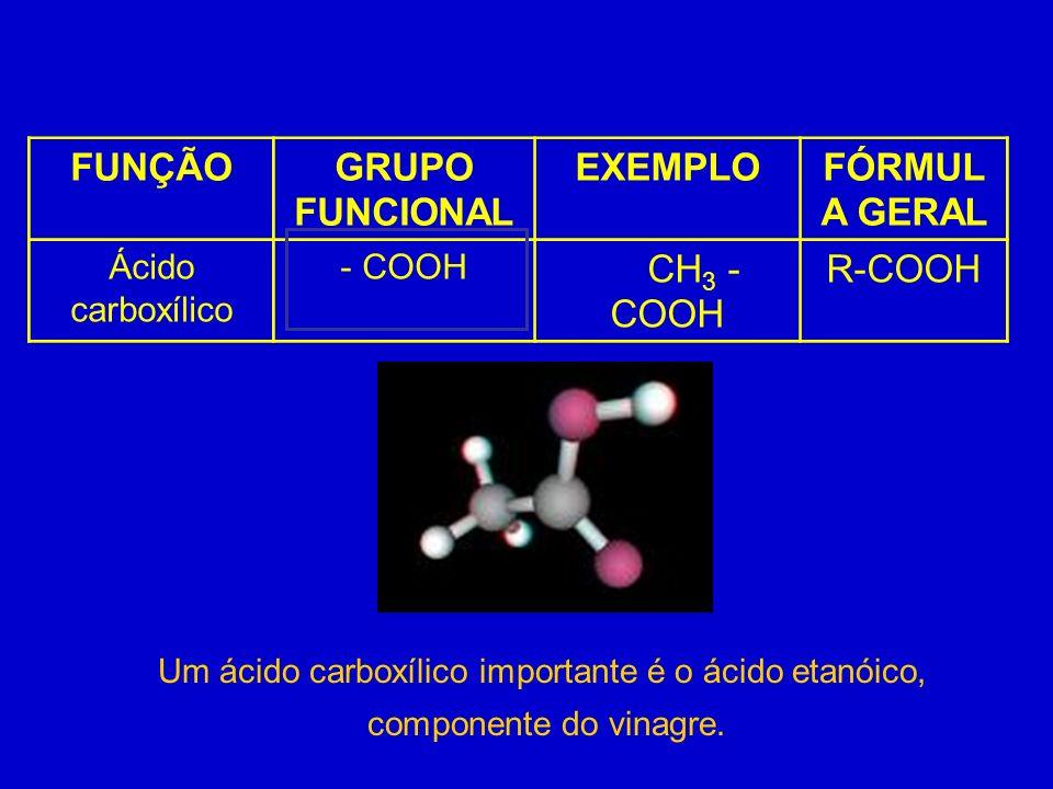FUNÇÃOGRUPO FUNCIONAL EXEMPLOFÓRMUL A GERAL Ácido carboxílico - COOH CH 3 - COOH R-COOH Um ácido carboxílico importante é o ácido etanóico, componente