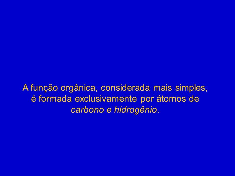 A função orgânica, considerada mais simples, é formada exclusivamente por átomos de carbono e hidrogênio.