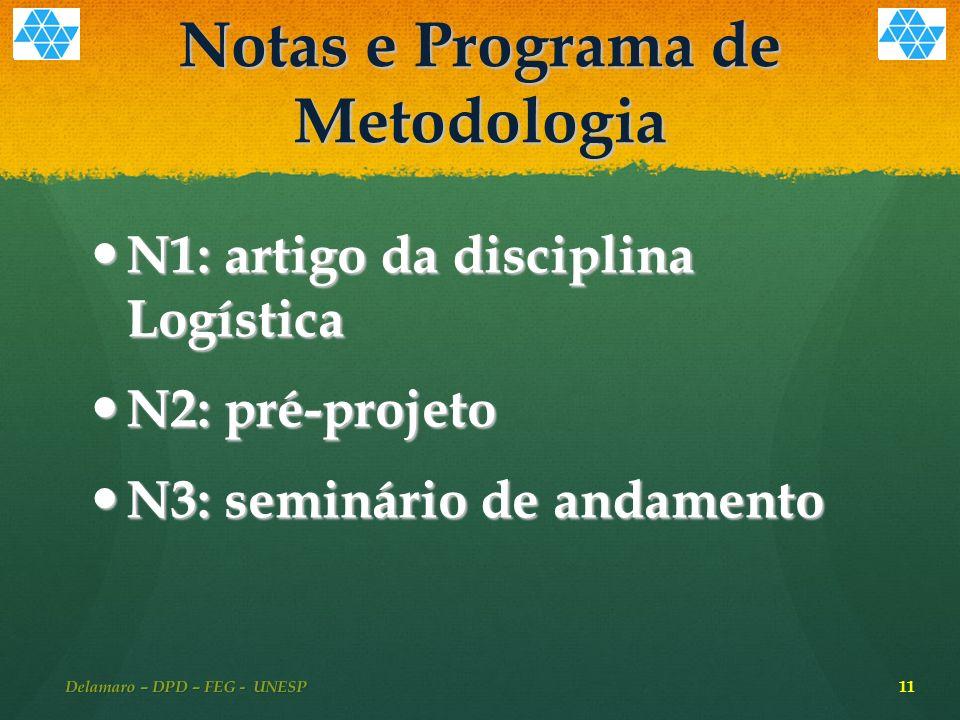 Notas e Programa de Metodologia N1: artigo da disciplina Logística N1: artigo da disciplina Logística N2: pré-projeto N2: pré-projeto N3: seminário de andamento N3: seminário de andamento Delamaro – DPD – FEG - UNESP 11