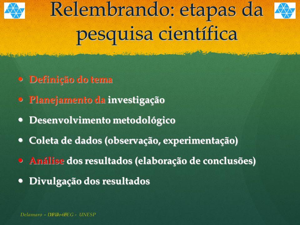 16 de 69 Relembrando: etapas da pesquisa científica Definição do tema Definição do tema Planejamento da investigação Planejamento da investigação Desenvolvimento metodológico Desenvolvimento metodológico Coleta de dados (observação, experimentação) Coleta de dados (observação, experimentação) Análise dos resultados (elaboração de conclusões) Análise dos resultados (elaboração de conclusões) Divulgação dos resultados Divulgação dos resultados Delamaro – DPD – FEG - UNESP