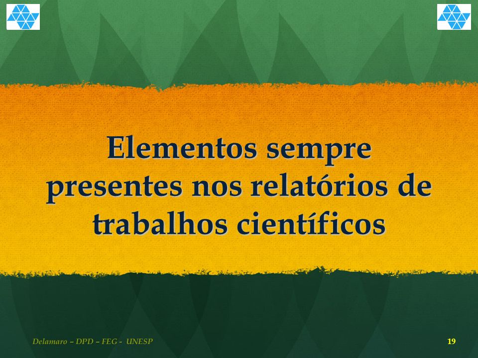 Elementos sempre presentes nos relatórios de trabalhos científicos Delamaro – DPD – FEG - UNESP 19