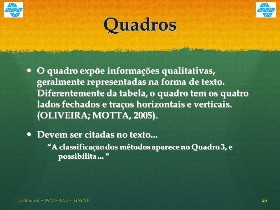 Quadros O quadro expõe informações qualitativas, geralmente representadas na forma de texto.