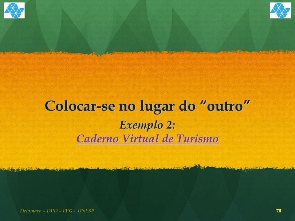 Colocar-se no lugar do outro Exemplo 2: Caderno Virtual de Turismo Caderno Virtual de Turismo Delamaro – DPD – FEG - UNESP 70