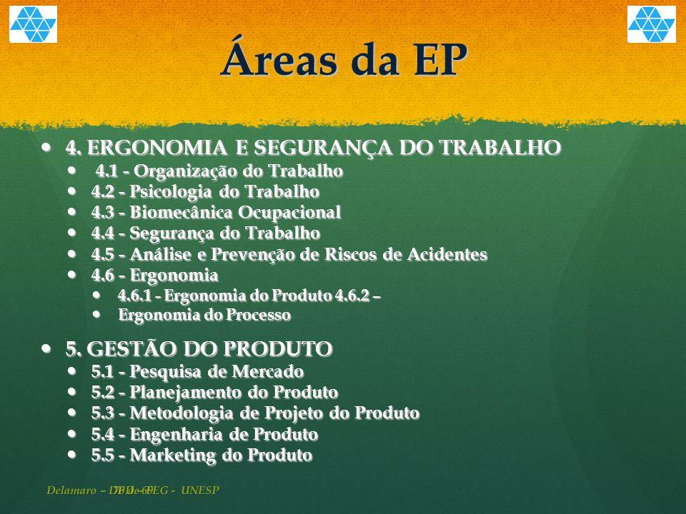 76 de 69 Áreas da EP 4.ERGONOMIA E SEGURANÇA DO TRABALHO 4.