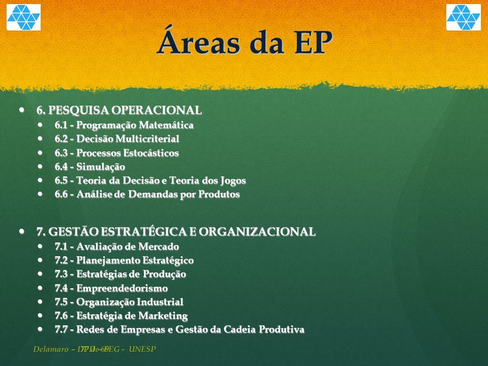 77 de 69 Áreas da EP 6.PESQUISA OPERACIONAL 6.