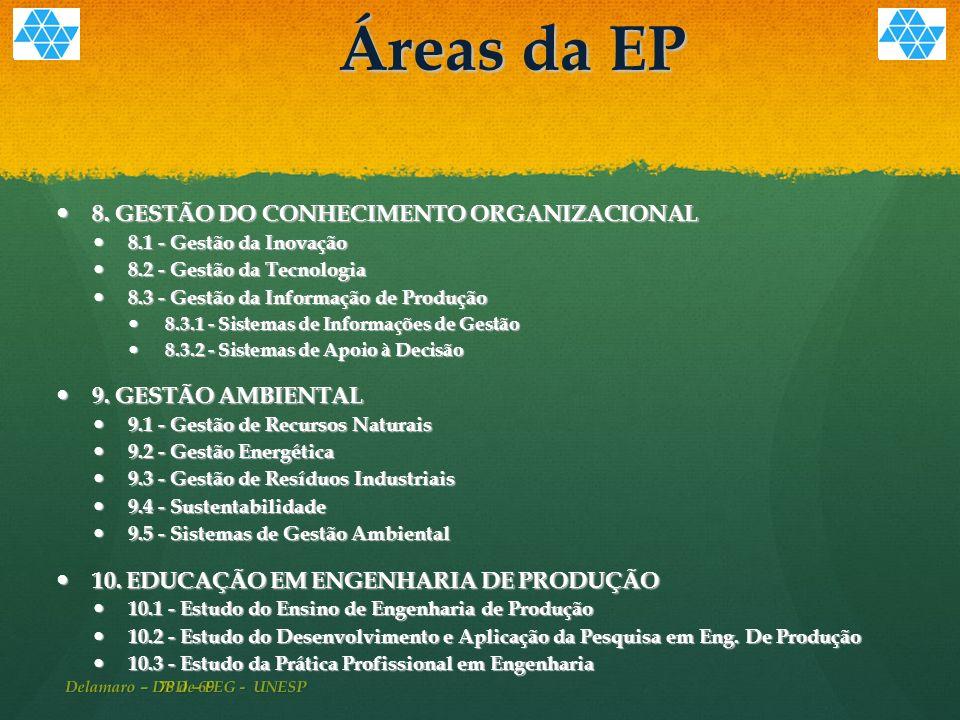 78 de 69 Áreas da EP 8.GESTÃO DO CONHECIMENTO ORGANIZACIONAL 8.