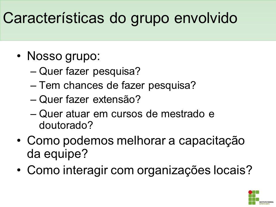 Características do grupo envolvido Nosso grupo: –Quer fazer pesquisa? –Tem chances de fazer pesquisa? –Quer fazer extensão? –Quer atuar em cursos de m