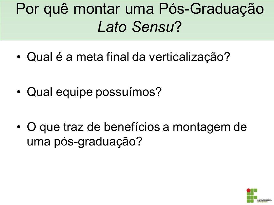 Por quê montar uma Pós-Graduação Lato Sensu? Qual é a meta final da verticalização? Qual equipe possuímos? O que traz de benefícios a montagem de uma