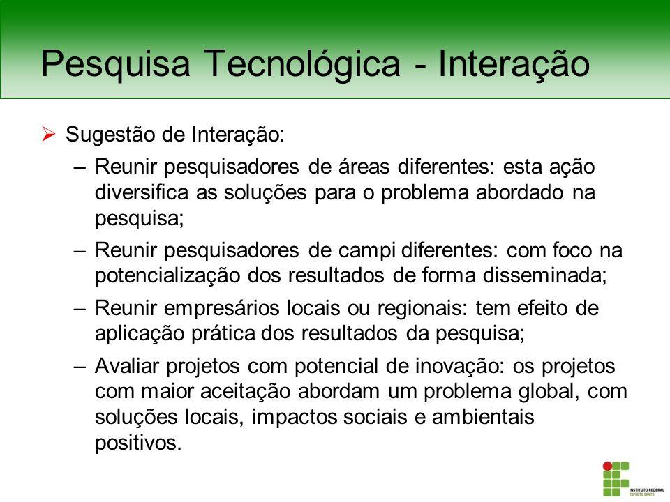 Pesquisa Tecnológica: Sugestão de Interação QUÍMICA MECÂNICA ELÉTRICA INFORMÁTICA PROCESSOS E SERV IÇOS Áreas Básicas do Conhecimento - Química; - Biologia; - Física; - Matemática; - Português; - Inglês.