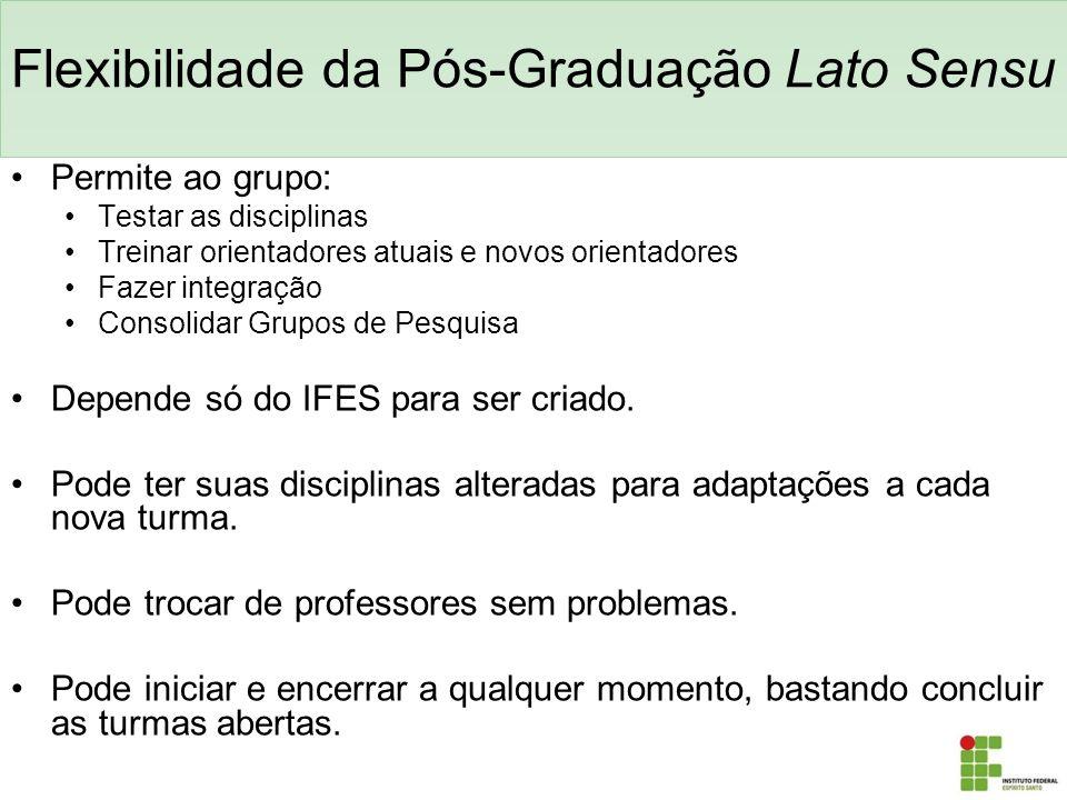 Flexibilidade da Pós-Graduação Lato Sensu Permite ao grupo: Testar as disciplinas Treinar orientadores atuais e novos orientadores Fazer integração Co