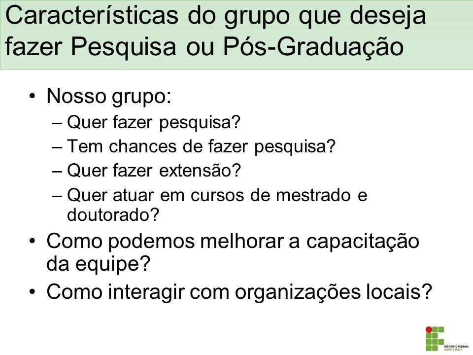 Características do grupo que deseja fazer Pesquisa ou Pós-Graduação Nosso grupo: –Quer fazer pesquisa? –Tem chances de fazer pesquisa? –Quer fazer ext