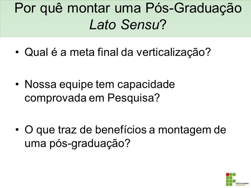 Por quê montar uma Pós-Graduação Lato Sensu? Qual é a meta final da verticalização? Nossa equipe tem capacidade comprovada em Pesquisa? O que traz de