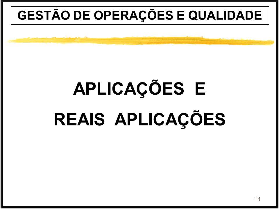 14 GESTÃO DE OPERAÇÕES E QUALIDADE APLICAÇÕES E REAIS APLICAÇÕES
