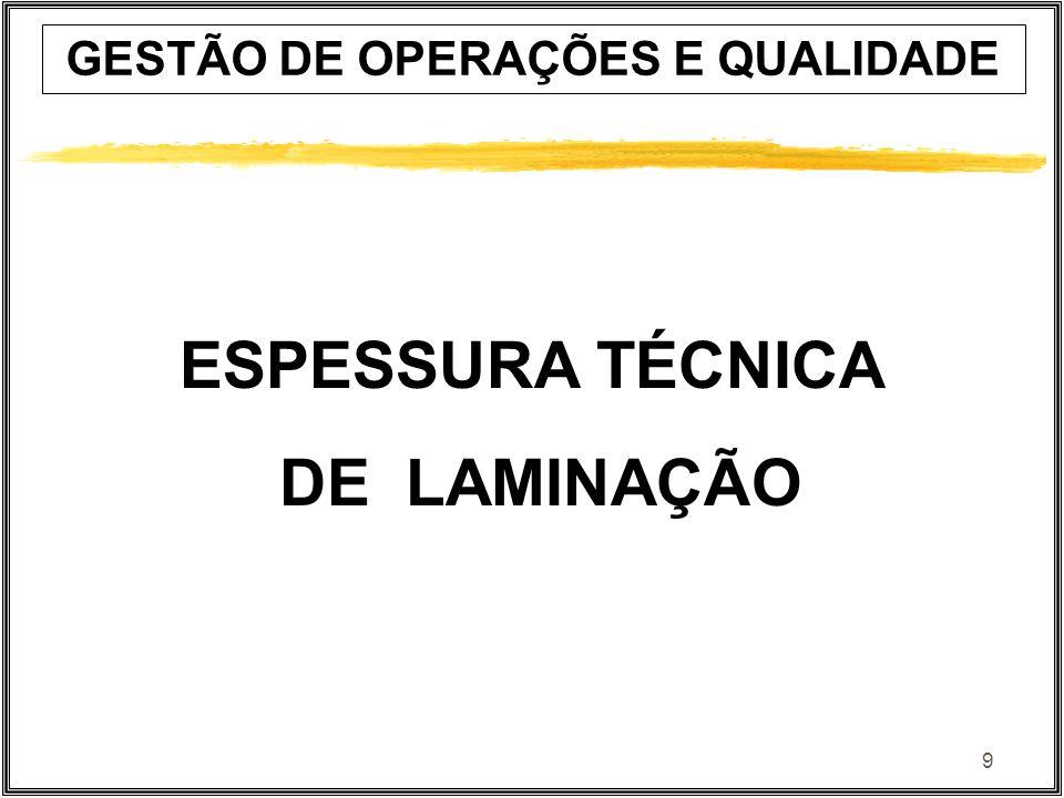 9 ESPESSURA TÉCNICA DE LAMINAÇÃO GESTÃO DE OPERAÇÕES E QUALIDADE