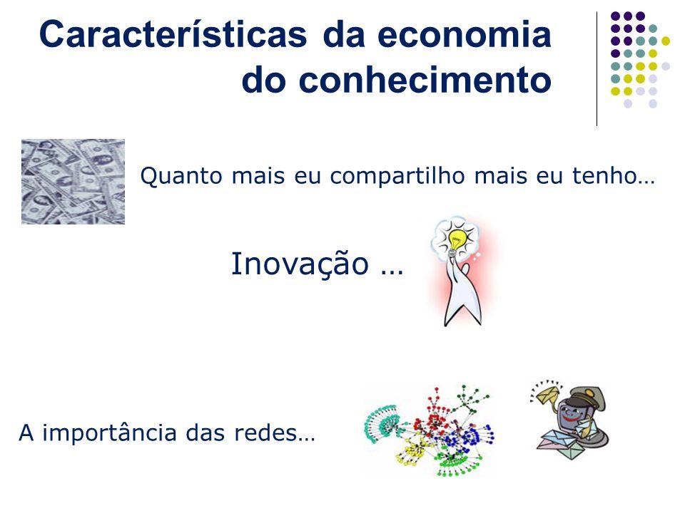 Características da economia do conhecimento Quanto mais eu compartilho mais eu tenho… A importância das redes… Inovação …