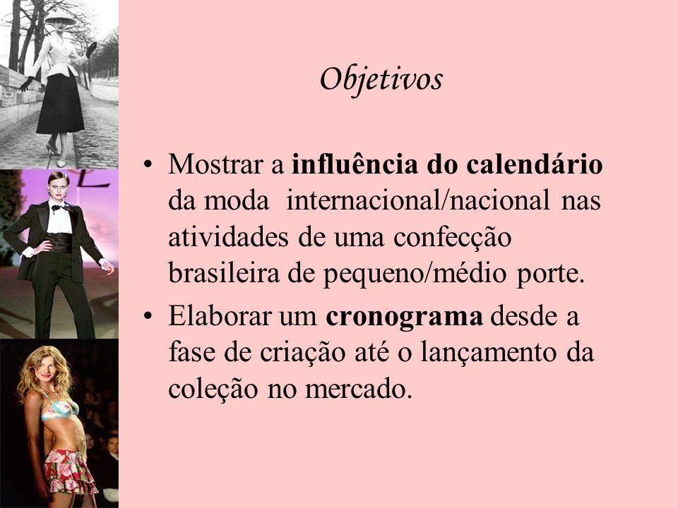 Objetivos Mostrar a influência do calendário da moda internacional/nacional nas atividades de uma confecção brasileira de pequeno/médio porte. Elabora