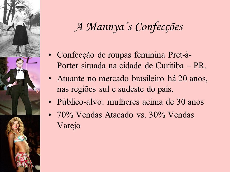 A Mannya´s Confecções Confecção de roupas feminina Pret-à- Porter situada na cidade de Curitiba – PR. Atuante no mercado brasileiro há 20 anos, nas re