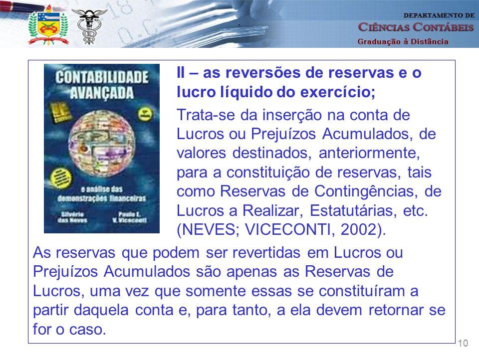 10 II – as reversões de reservas e o lucro líquido do exercício; Trata-se da inserção na conta de Lucros ou Prejuízos Acumulados, de valores destinado