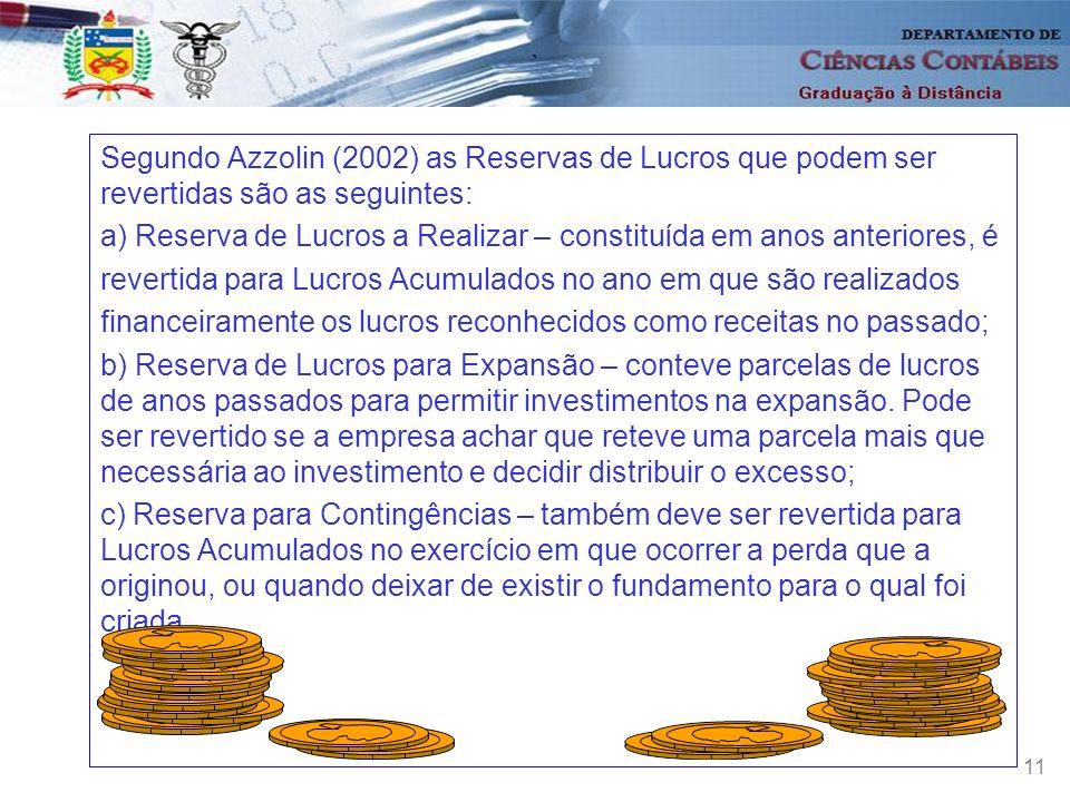 11 Segundo Azzolin (2002) as Reservas de Lucros que podem ser revertidas são as seguintes: a) Reserva de Lucros a Realizar – constituída em anos anter