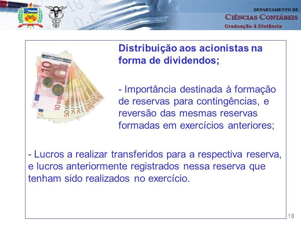 18 Distribuição aos acionistas na forma de dividendos; - Importância destinada à formação de reservas para contingências, e reversão das mesmas reserv