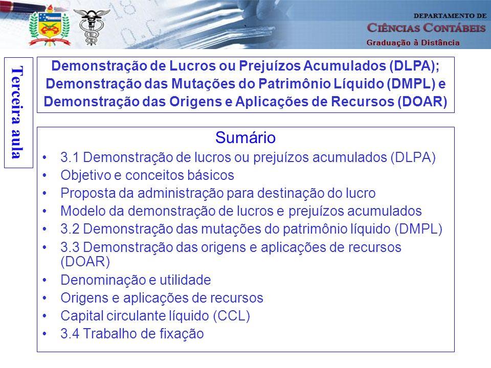 Terceira aula Sumário 3.1 Demonstração de lucros ou prejuízos acumulados (DLPA) Objetivo e conceitos básicos Proposta da administração para destinação