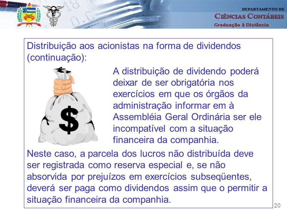 20 Distribuição aos acionistas na forma de dividendos (continuação): A distribuição de dividendo poderá deixar de ser obrigatória nos exercícios em qu