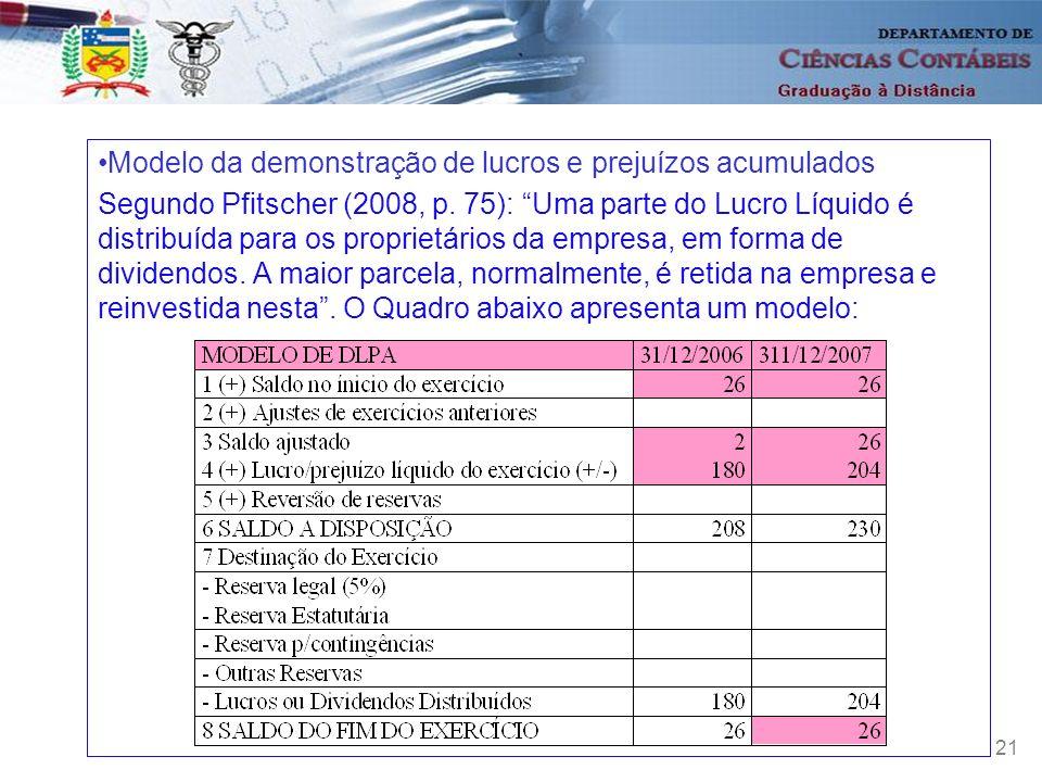 21 Modelo da demonstração de lucros e prejuízos acumulados Segundo Pfitscher (2008, p. 75): Uma parte do Lucro Líquido é distribuída para os proprietá