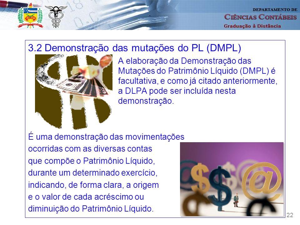 22 3.2 Demonstração das mutações do PL (DMPL) A elaboração da Demonstração das Mutações do Patrimônio Líquido (DMPL) é facultativa, e como já citado a