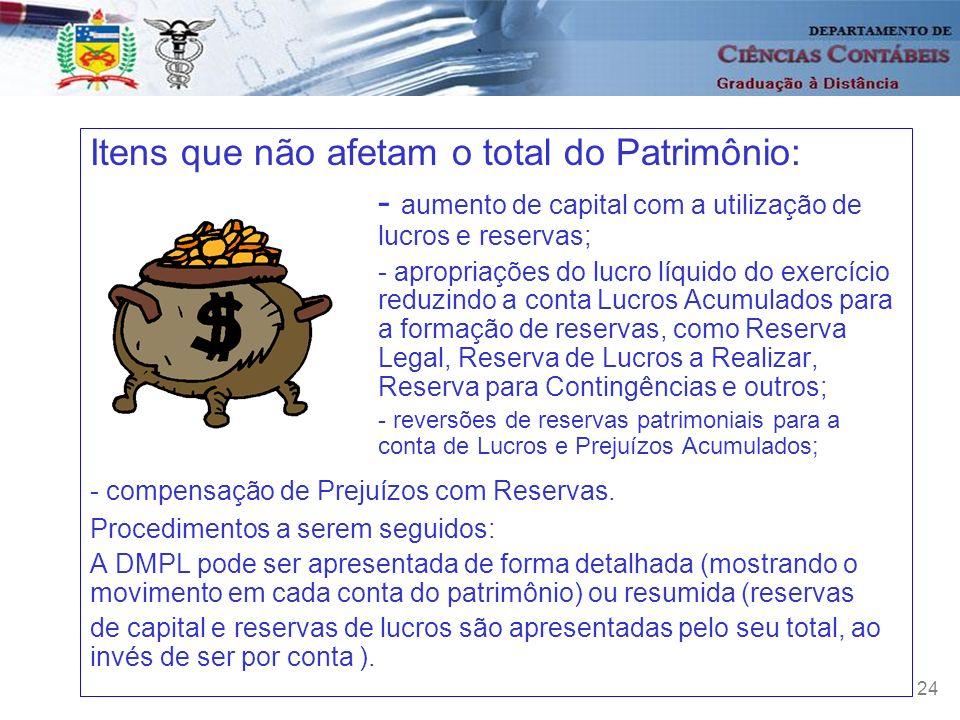 24 Itens que não afetam o total do Patrimônio: - aumento de capital com a utilização de lucros e reservas; - apropriações do lucro líquido do exercíci