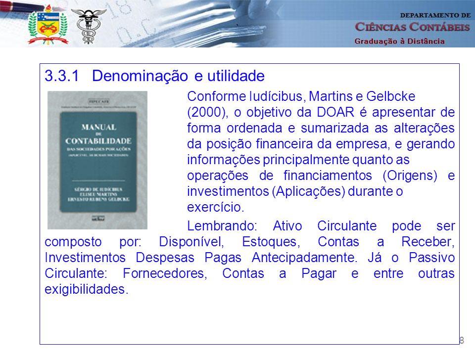 28 3.3.1Denominação e utilidade Conforme Iudícibus, Martins e Gelbcke (2000), o objetivo da DOAR é apresentar de forma ordenada e sumarizada as altera