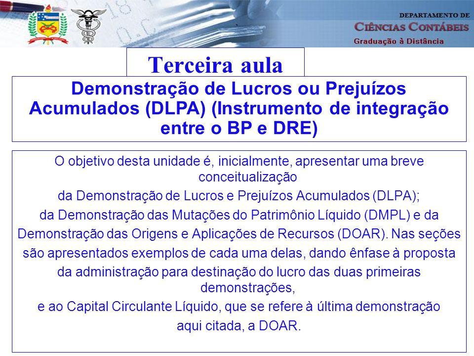 Terceira aula O objetivo desta unidade é, inicialmente, apresentar uma breve conceitualização da Demonstração de Lucros e Prejuízos Acumulados (DLPA);