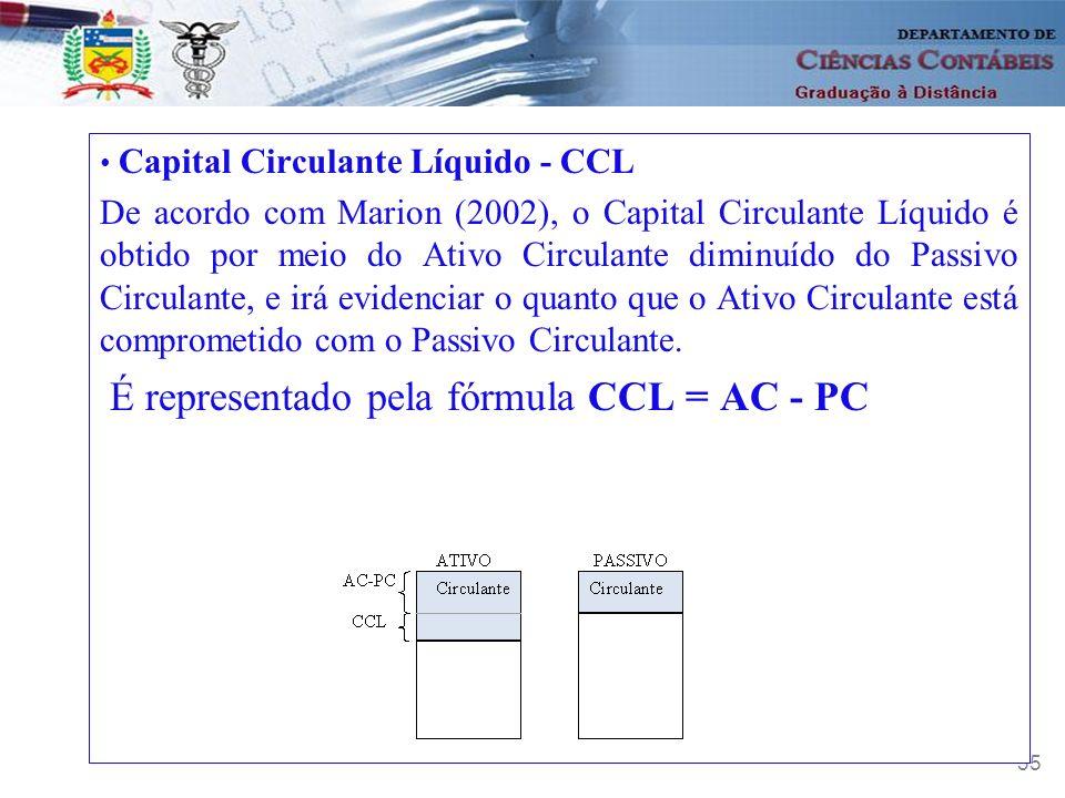 35 Capital Circulante Líquido - CCL De acordo com Marion (2002), o Capital Circulante Líquido é obtido por meio do Ativo Circulante diminuído do Passi