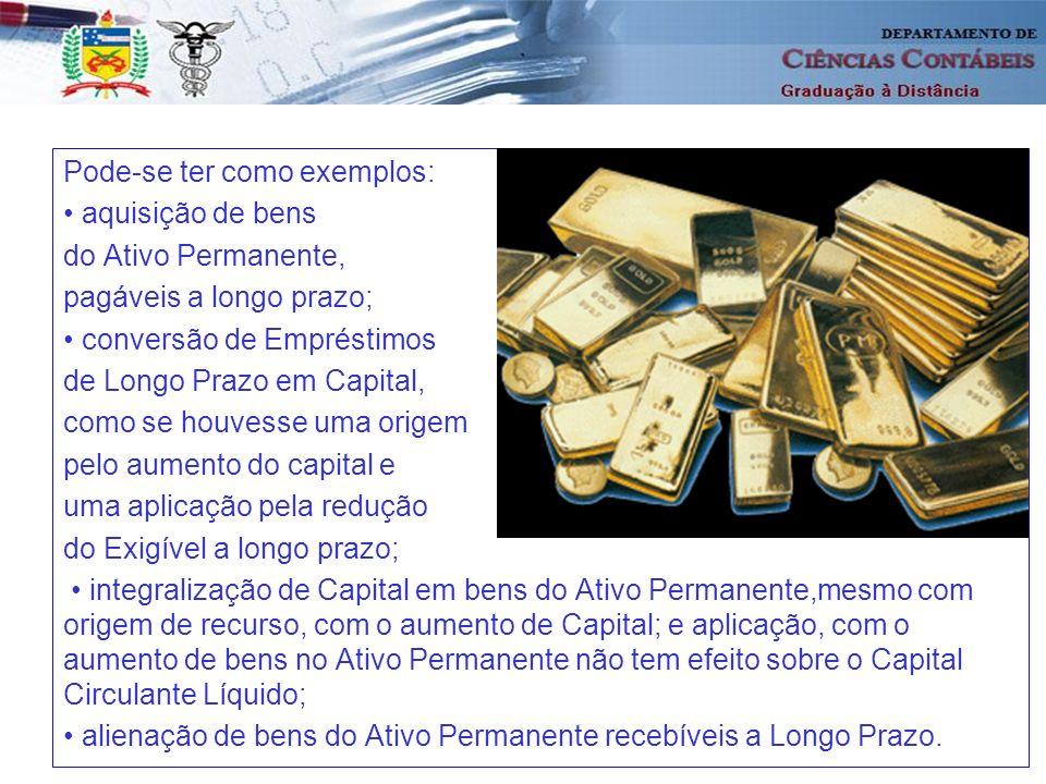 39 Pode-se ter como exemplos: aquisição de bens do Ativo Permanente, pagáveis a longo prazo; conversão de Empréstimos de Longo Prazo em Capital, como