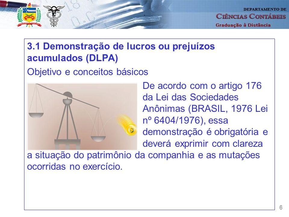 6 3.1 Demonstração de lucros ou prejuízos acumulados (DLPA) Objetivo e conceitos básicos De acordo com o artigo 176 da Lei das Sociedades Anônimas (BR